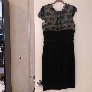 ABS black bodycon dress lace overlay and belt